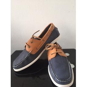 Zapatos Sperry Top Sider Importados Cuero Amarrilos Con Azul