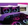 Chica Negro Purple Pink Green Peace Sign Set De Edredón Com