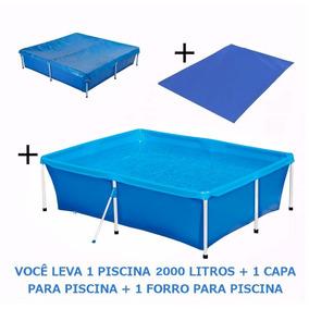 Kit Piscina Standard 2000 L + Capa + Forro Mor