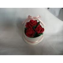 Lembrancinha Cestinha Em Eva Com Mini Rosas(30 Unidades)