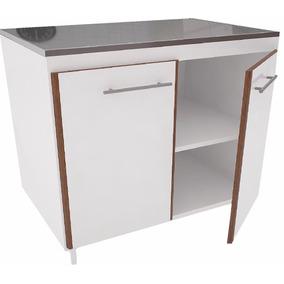 Mueble Bajo Mesada 0.80 Mt Filo Canto Cocina Blanco / Mogno