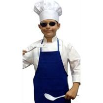 Disfraz Para Niño Azul Chefskin Delantal Blanco Sombrero Ju