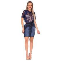 Saia Jeans Cós Diferenciado Azul Laura Rosa Estilo Casual