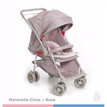 Kit Carrinho Bebê Conforto Maranello Galzerano Rosa Cinza