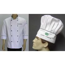 Kit Doma+chapeu Toque C/bordado Gastronomia Cozinheiro Chef