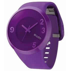 Relógio Feminino Grande Pulseira Silicone Com Visor Roxo Odm