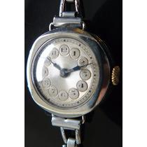 Reloj Antiguo Ingles Plata Solido A Cuerda 15 Rubis De 1920
