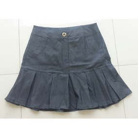 Mini Saia Jeans S/ Laycra C/ Pregas Na Barra Tamanho M (38)