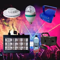 Kit Iluminação Festa Show 6x1 Strobo Fumaça Laser Disco Led