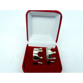 Par De Aliança Coroa Luxo De Pratas Com Zirconias Nas Duas