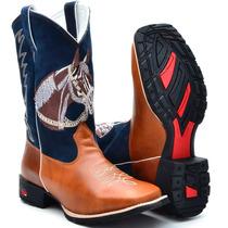 Bota Country Masculina Cano Longo Texana Bico Quadrado Cour