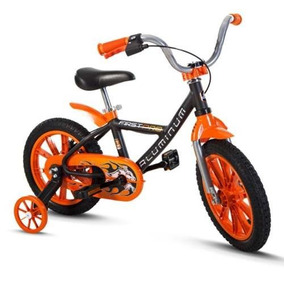 Bicicleta Aro 14 First Pro Quadro De Aluminio Laranja Nathor