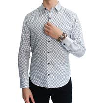 Camisa Manga Larga Estampado Cuadro Blanco