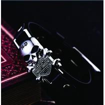 Pulseira Harley Davidson Skull Em Couro Titanium Bracelete
