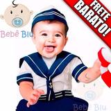 Conjunto Bebê Infantil Fantasia Marinheiro Náutico Enxoval