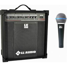 Caixa Amplificada Ll Lx 100 + Microfone Jwl Ba-58 Como Shure