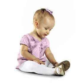 Meia Calça Fio 80 Algodão Bebê Infantil Selene 0 A 2 Anos