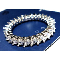 Iot-anel Aliança Prata 925 Zirconias Navetes Rodinado