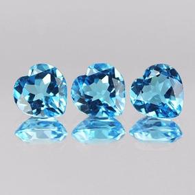 3 Topacios Azul Corazon 4.88 Quilates