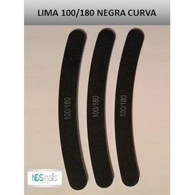 25 Limas 100/180 Curva Negra Para Uñas Al Mayor