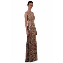 Vestido Feminino Festa Paete E Renda Dourado