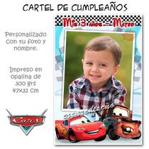 Cars Rayo Mc Queen Cartel Cumpleaños Bienvenida Con Tu Foto