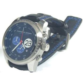 Relógio Porsche Design 23 P6612 Azul Pulseira Couro Azul 50m