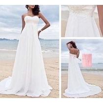 Vestido De Noiva Lindíssimo Chifon E Tule Bordado