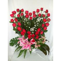Arreglo Floral 40 Rosas Forma De Corazón