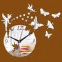 Relógio De Parede Acrilico Espelhado Adesivo Fada Borboletas