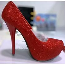 Zapatos Fiesta Tacon Brillantes Rojos Plataforma 37