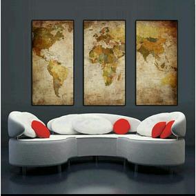 Pintura Tela Óleo Mapa Mundi Reprodução Quadro Vintage