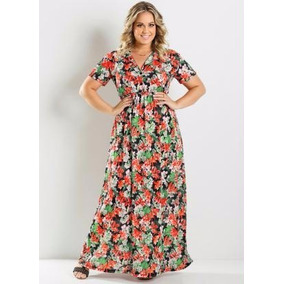 Roupas Femininas Vestido Longo Estampado Plus Size Gordinha