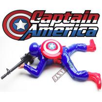 Capitão America Boneco Brinquedo Soldado Guerra Arrasta Led