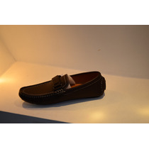Zapato Mocasín Caballeros Marones Con Cinturón