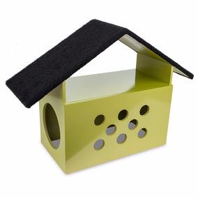 Arranhador Casinha Para Gato Little House Em Madeira Dourado