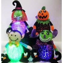 Adorno Dia De Muertos Halloween Bruja Calabaza Con Luz