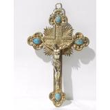 Cruz Con Cristo De Plata Y Turqueza Circa 1900 Gran Tamaño
