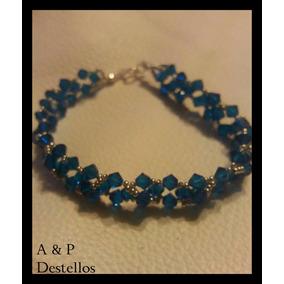 Pulsera Cristal Swarovski Azul, Plateado Con Plata Fina
