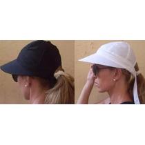 Boné Chapéu Viseira Branco Aba Grande C/ Laço Tecido Verão