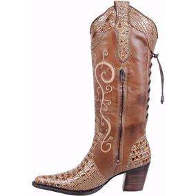 Bota Feminina Texana Country Couro Jacaré Cano Bordado