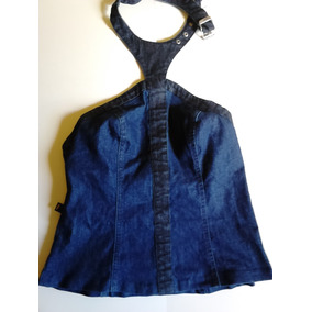 Blusa Frente Única Jeans Com Zíper Da Zoomp