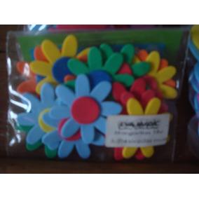 Flores Y Mariposas De Goma Eva Con Adhesivo Por 20 Unidades
