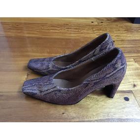 Zapatos De Cuero De Víbora En Gana De Lila Y Beige Numero 36