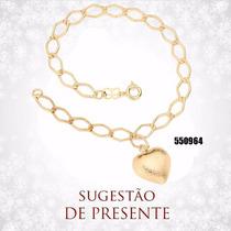 Rommanel Pulseira F/ Ouro 18k Pingente Coração 20 Cm 550964