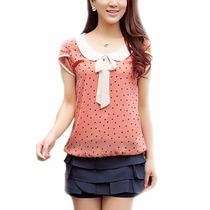 Tsuki Moda Asiatica: Blusa Polka Dots Cuello Muñeca Formal