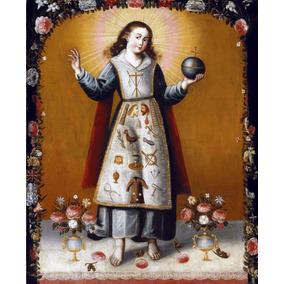 Lienzo Tela Niño Dios Con Símbolos Arte Sacro Siglo 18 50x60