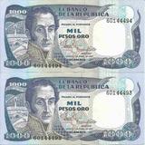 Colombia Dúo De Números Consecutivos 1000 Pesos 1 Enero 1982