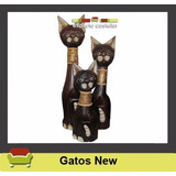 Gatos New De Madera Tallados X 3 (indonesia)