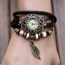 Relógio De Pulso Bracelete Feminino Pulseira Couro Pingente